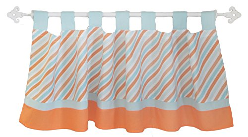 My Baby Sam Penny Lane Curtain Valance, Orange/Aqua
