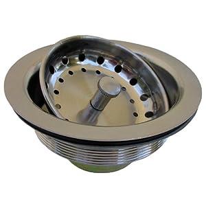 LASCO 03-1067 Kitchen Sink Post Type Basket Strainer Duo Locknut Style with Stainless Steel Body, Satin Nickel Finish