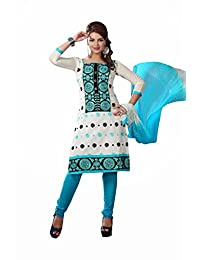 AASRI Party Wear Cotton Embroidered 3 Piece Unstitched Salwar Suit 6008