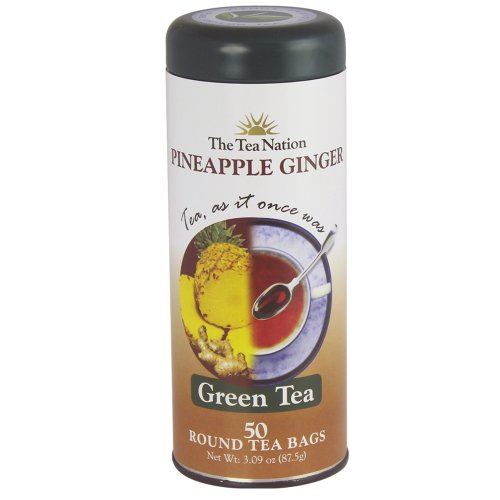 The Tea Nation Round Green Tea Bags, Pineapple Ginger, 50-Count (Pack of 3)