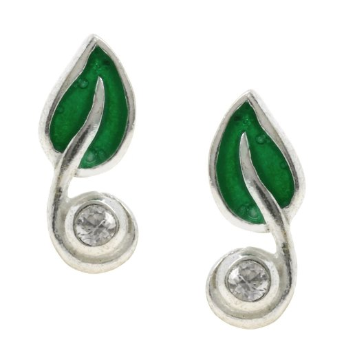 Leaf earrings silver green studs crystal Handmade in India 0.5 inches