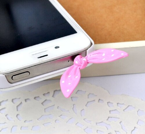 Mardiso Little Rabbit Ears Phone Headset Plug Dust Plug 3.5Mm Iphone Headphone Plug Universal Pink