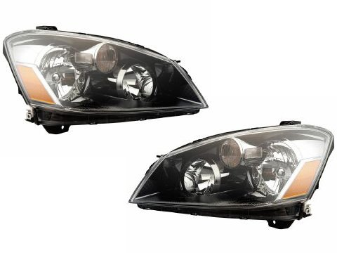 Nissan Altima Halogen-Type Black Headlights Headlamps New Set (2006 Nissan Altima Headlights compare prices)