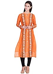 India Fabart Orange Chanderi Fabric Hand Block Printed Women's Kurti