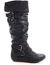 Tamika42 Women S Knee-High Riding Boots Buckle Details Functional Zipper