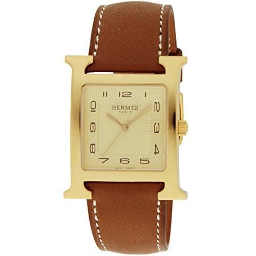 [エルメス]HERMES 腕時計 Hウォッチ ゴールド文字盤 ステンレス(YGPVD)ケース カーフ革ベルト HH1.801.462.VBA メンズ 【並行輸入品】