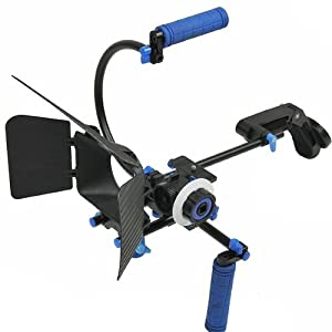 ePhoto Shoulder Mount Video DSLR Rig Camera Support Rig COUNTER WEIGHT, Follow Focus, Matte Box, Top Handle Kit RL002FMCW