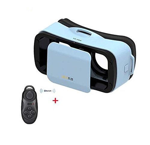 """Clever Bear LEJI Mini Virtual Reality 3D Google cardboard Glasses for Movies Games 4.5 - 5.5"""" Smart Phones + Remote Control (Blue)"""