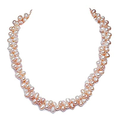 "Amazing Pink Double Twist Freshwater Pearl Necklace 16"" Pearls:8mm"