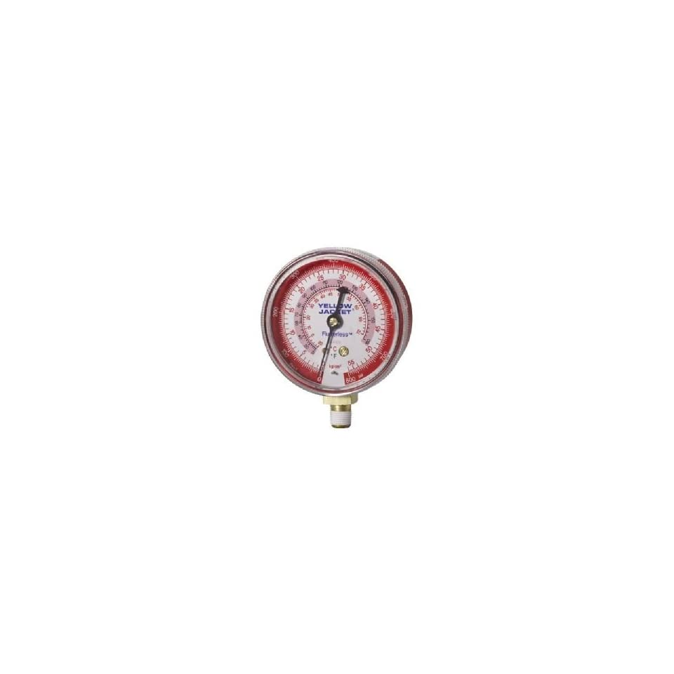 Yellow Jacket 49035 2 1/2 (68 mm) Manifold Gauges (°F), Red Pressure, 0 800 kg/cm2/psi, R 410A