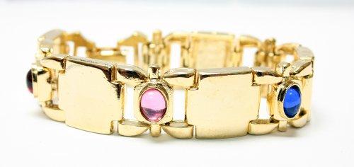Gold Plated Multicolored Gemstones Link Bracelet - Fashion Bracelet