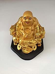 Feng Shui Golden Good Luck Money Buddha Statue
