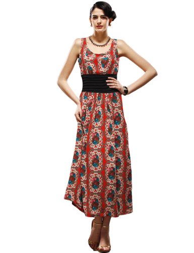 Maxchic Women's Cotton Blend Waisted Printed Maxi Sundress C07434Z13M,Red,XX-Large