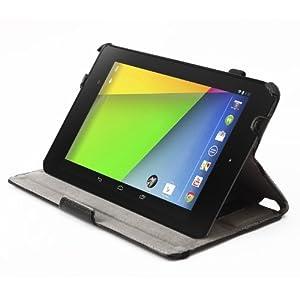 Google 第2世代(Nexus 7 2013) Nexus 7 専用高品質PUレザーケース スタンド機能 角度調整機能 タッチペンホルダー ハンドストラップ付 オートスリープ機能搭載!! /黄金宮殿オリジナル商品(6-1)(ブラック)