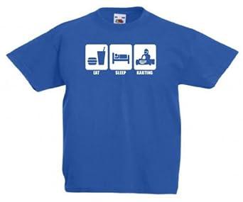 Eat sleep karting kids childrens 3-13 years T-shirt 208 - Blue - 3/4 years