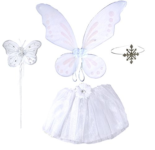 5 Pc White Pixie Snow Fairy with Wings, Large Butterfly Wand & Snowflake Headband