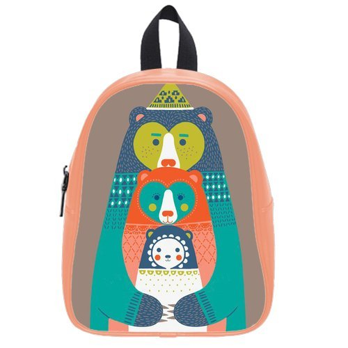 Generic Custom Cartoon Abstract Kangaroo Printed Light Salmon School Bag Backpack Fit Short Trip Pu Leather Medium front-1051241