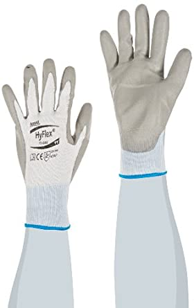 Ansell HyFlex 11-644 Polyethylene Light Duty Safety Glove with Knitwrist, Abrasion/Cut Resistant, Size 11, Gray (Pack of 12 Pair)