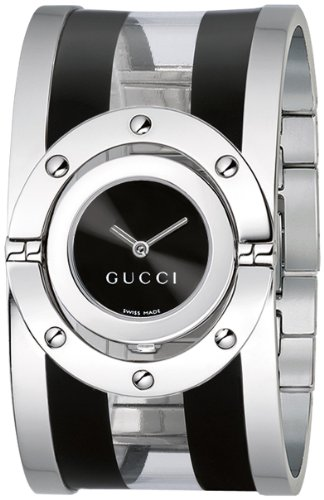Gucci Women's YA112414 Twirl Medium Black and Transparent Acetate Bangle Watch