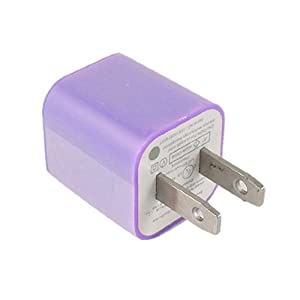 Gino Purple Flat US Plug to USB Port AC Power Adapter for iPhone 4 4G 3G