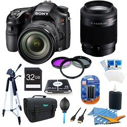 Sony Alpha A77 SLT-A77VQ A77VQ SLTA77 SLTA77VQ 24.3 MP Translucent Mirror Digital SLR With 16-50mm F2.8 lens, Sony SAL 55-200 f 4-5.6 Telephoto Lens ULTIMATE BUNDLE with High Speed 32GB Card, Full Size Tripod, 3 pc Deluxe Filter Kit, High Capacity Spare