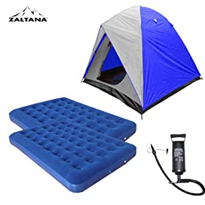 4 Person Tent with 2 Air Mats(double) Amd Air Pump