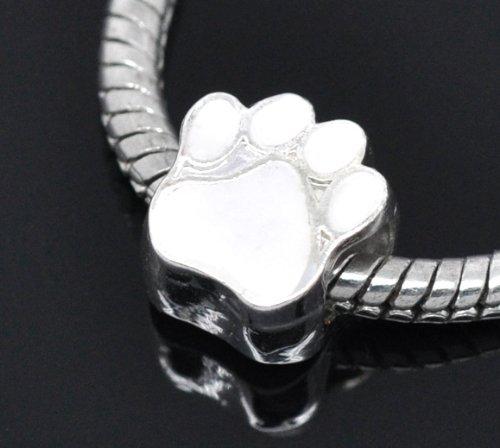 Silver Plated White Paw Print Enamel Bead Charm Spacer Bead Fits European Pandora Troll Other Type Bracelet