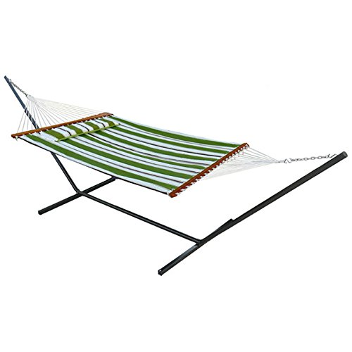 Reversible Quilted Fabric Cotton Hammock with Steel Stand, Two Person, Free Standing, Green Stripe Smart Garden B00VTR62RS