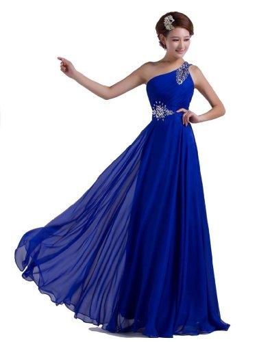 DLFASHION One-shoulder Floor Length Beaded Chiffon Prom Dress XL-18