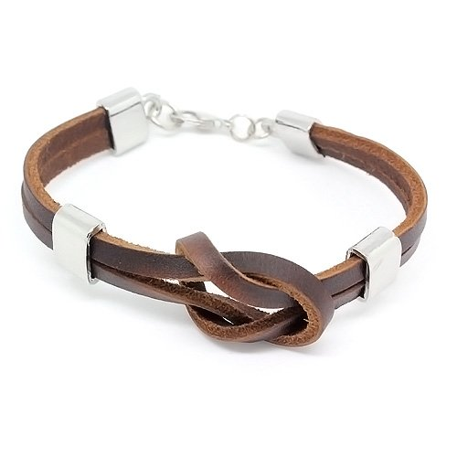 Top Value Jewelry - Unisex Brown Leather 2 Band Knot Bracelet with Stylish Silver Accents