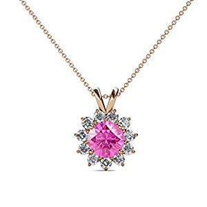 Pink Sapphire and Diamond Floral Halo Pendant 1.28 ct tw in 14K Rose Gold with 18 Inches 14K Gold Chain