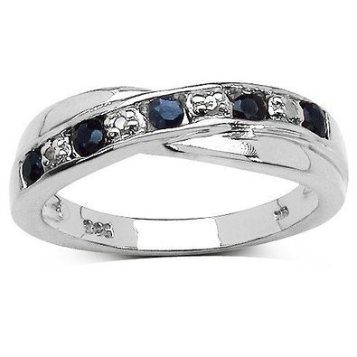 The Sapphire Ring Collection: Beautiful Channel Set Black Sapphire & Diamond Crossover Eternity Ring in Sterling Silver