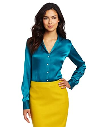Karen Kane Women's Crystal Button Shirt, Teal, Small