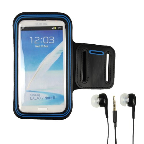 New Fashion Blue/Black Outdoors Sport Running Gym Armband Case For Samsung Galaxy Note 2 Ii N7100/Samsung Galaxy Note Gt-N7000 I9220/Samsung Galaxy S3 I9300/Samsung Galaxy S4 I9500+Earphone