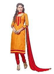 Suchi Fashion Orange & Red Jacquard Print Dress Material