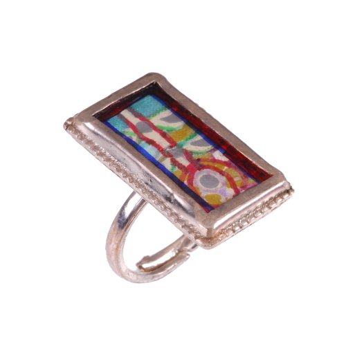 Fashionable Hand Painted Silver Finger Ring