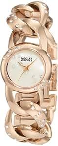 Badgley Mischka Women's BA/1176MPRG Swarovski Crystal-Accented Rose Gold-Tone Watch with Open-Chain Bracelet