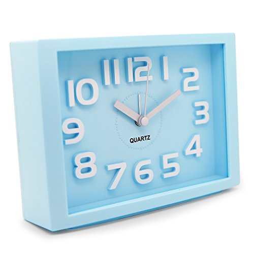 JCC Decorative Colorful Rectangle Quartz Analog Silent non ticking sweep second hands Bedside Desk alarm clock (Blue)