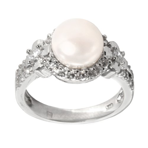 Sterling Silver White Cultured Freshwater Pearl with Cubic Zirconia Ring, Size 6