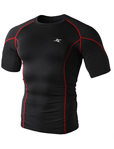 H2H SPORT Men's Sports Short Sleeve Compression Base Layer With Point Line RED US M/Asia XL (KMTTS0374)