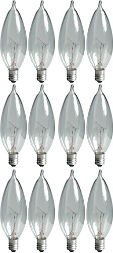 GE Lighting Crystal Clear 24782 40-Watt, 370/280-Lumen Bent Tip Light Bulb with Candelabra Base, 12-Pack (40 Watt Candelabra Bulbs compare prices)