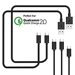USB Cables, Anypro 5 Pack (3m2,1m2,0.3m) Micro usb Cables Data Cord, High Speed USB 2.0 A Male to Micro B Sync for Android, Samsung, HTC, Nokia, Sony, LG, Blackberry, Motorola, Black