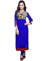 Mirchi Fashion Women's Blue Faux Georgette And Art Silk Printed Stitched Kurti