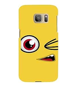 PrintVisa Cute Cartoon yellow Smiley 3D Hard Polycarbonate Designer Back Case Cover for Samsung Galaxy S7 Edge