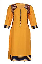 Artisan Women's Cotton Straight Kurta (CZF10026_XXL, Yellow, XXL)