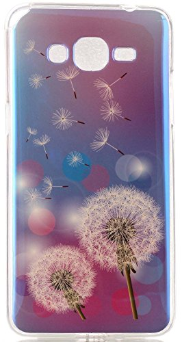 Galaxy Grand Prime G530 Case AIYZE Blue Light Soft TPU Gel Slim Protective Back Case with Universal Silicone Mobile Phone Stand For Samsung G5308 G5306W (Two Dandelion) (Mobile Covers For Grand 2 compare prices)