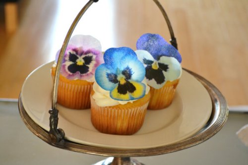 Edible Pansies - Pink, Purple, And Blue Set Of 12 - Cake And Cupcake Toppers, Decoration front-457009