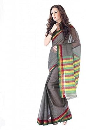 ISHIN Cotton Grey Sarees Kanchana available at Amazon for Rs.699