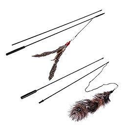 [2pack] Cat Toys , Zaneeta Guinea Fowl Feather Cat Teaser Wand Cat Catcher