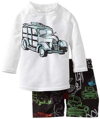 Charlie Rocket Baby-Boys Infant Woody Swimshort, Black/White, 9-12 Years